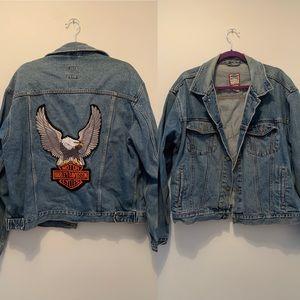 VTG old navy Jean jacket w/  Harley Davidson patch